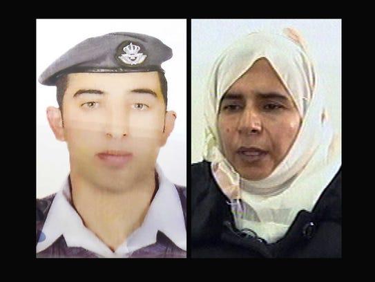 Jordanian pilot Lt. Muath al-Kaseasbeh, left, and Sajida
