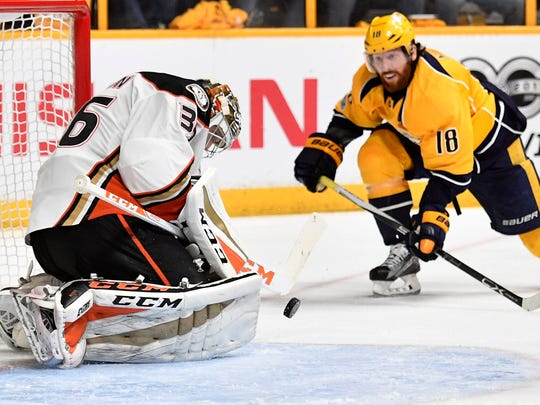 Anaheim Ducks goalie John Gibson (36) makes a save for the Ducks during the third period of game four of the Western Conference finals at Bridgestone Arena Thursday, May 18, 2017 in Nashville, Tenn.