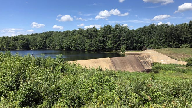 Due to lack of rain this summer, the Bellamy Reservoir located in Madbury is lower than usual with water flow.