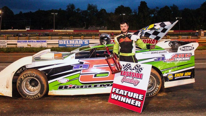 Dakota Riggleman took the checkered flag in the first of two late-model features Saturday night at Eastside Speedway.