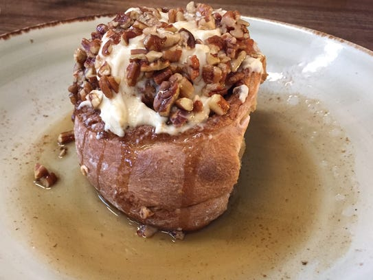 The giant pecan sticky bun, $9, from Tin Roost in North