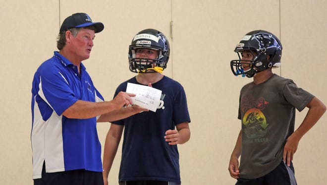 Edgemont coach Brian Connolly talks to his players during practice in 2015. The Panthers have withdrawn from their Class B quarterfinal against Pleasantville due to safety concerns.