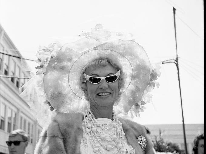 Mrs. Delbert Johsnon and her hat at the Kentucky Derby.   May 4, 1963