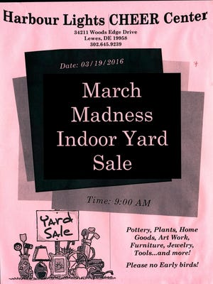 Harbour Lights Cheer Center yard sale, March 19.