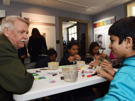 National Parks Service director, Jonathan Jarvis speaks with Ralph R. Smith Elementary School fourth grader Krishiv Parikh at the Eleanor Roosevelt National Historic Site in Hyde Park on Tuesday.