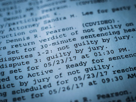 Court paperwork from a jury trial, one of the few domestic