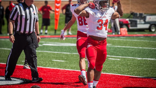 Ball State players face off in the team's Spring game at Scheumann Stadium Saturday, April 23, 2016.