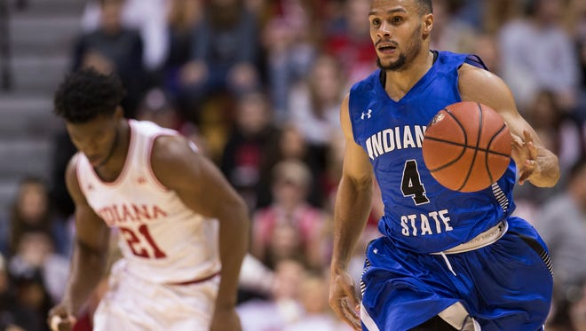 Brenton Scott of Indiana State University, brings the ball upcourt during first half action against Indiana University, Assembly Hall, Bloomington, Friday, Nov. 10, 2017. Indiana State University won 90-69.