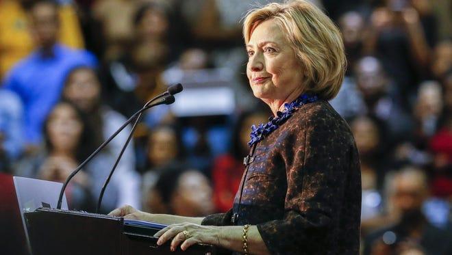 Democratic 2016 US presidential candidate Hillary Clinton speaks during a campaign rally at Clark Atlanta University in Atlanta, Georgia,