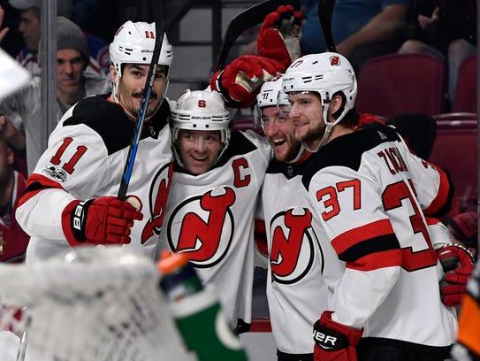 New Jersey Devils forward Stefan Noesen (23) reacts