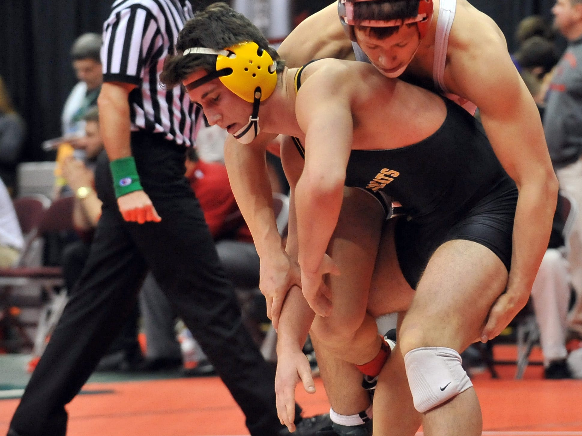 Paint Valley's Caleb Johnson wrestles during the Division III state wrestling tournament, Thursday, March 12, 2015, at the Jerome Schottenstein Center in Columbus.