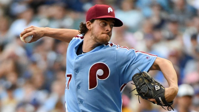 Phillies pitcher Aaron Nola has posted quality starts in nine of his last 10 trips to the mound.