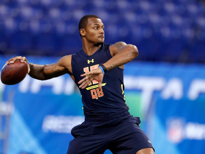 Clemson quarterback Deshaun Watson, who is on the Giants' radar, at the 2017 NFL Combine.