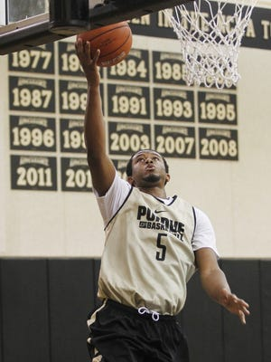 Basil Smotherman with a layup during men's basketball practice Monday, October 5, 2015, at Cardinal Court on the campus of Purdue University.