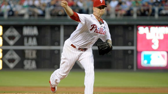Philadelphia Phillies starting pitcher A.J. Burnett (34) throws a pitch Monday during the second inning against the Washington Nationals at Citizens Bank Park. Credit: Eric Hartline-USA TODAY Sports