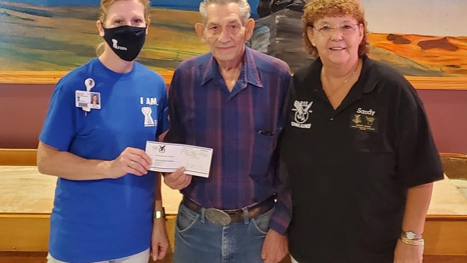 The Fraternal Order of Eagles representatives Bernie Spradlin and Sandy Gobin recently made a $5,000 grant donation to the Leonard C. Ferguson Cancer Center. Pictured, from left: Tonya Thayer of the Leonard C. Ferguson Cancer Center, Bernie Spradlin and Sandy Gobin.