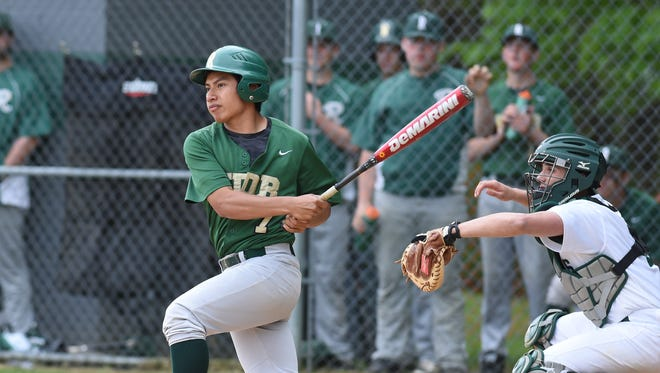 Roosevelt's Jon Santos gets a hit during a game against Spackenkill last year.