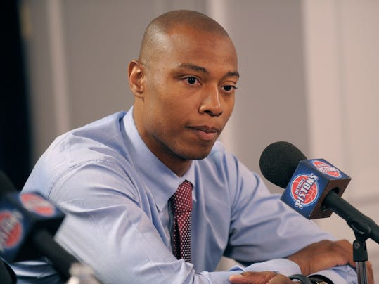 New Detroit Pistons player Caron Butler answers questions from reporters during the press conference introducing the team's free agent acquisitions at  The Palace of Auburn Hills, Tuesday, July 15, 2014 Auburn Hills, Mich. Detroit introduced D.J. Augustin and Caron Butler at a news conference Tuesday after signing the two free agents. The 6-foot-7 Butler played 56 games last season for Milwaukee and Oklahoma City, averaging 10.5 points and shooting 39 percent from 3-point range. Augustin was waived by Toronto early last season, but the 26-year-old point guard caught on with Chicago and averaged 13.1 points for the season. He shot 40 percent from beyond the arc.  (AP Photo/Detroit News, Clarence Tabb Jr)  DETROIT FREE PRESS OUT; HUFFINGTON POST OUT