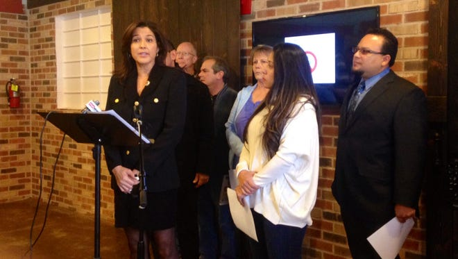 """Sen.-elect Catherine Miranda speaks at a press conference on Friday, Jan. 2, 2015. She vowed that she will fight any proposal in the Legislature to tag """"dreamers"""" driver's licenses with a """"non-citizen"""" designation."""