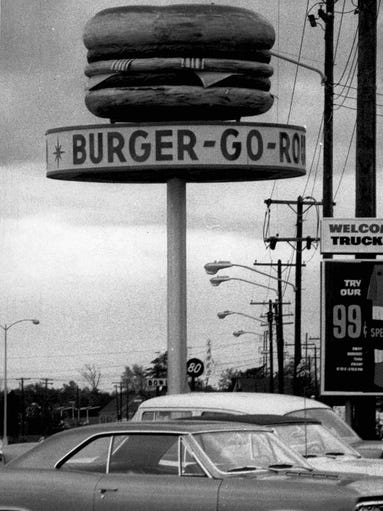 This 1967 photo shows the Burger-Go-Round sign on Scottsville
