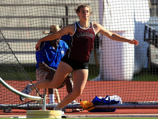 Calallen's Alexis Sacky competes in the 5A girls discus