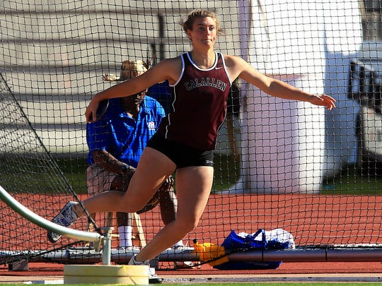 Calallen's Alexis Sacky competes in the 5A girls discus during the UIL State Track & Field Championships on Friday, May, 12, 2017, at Mike A. Myers Stadium in Austin.