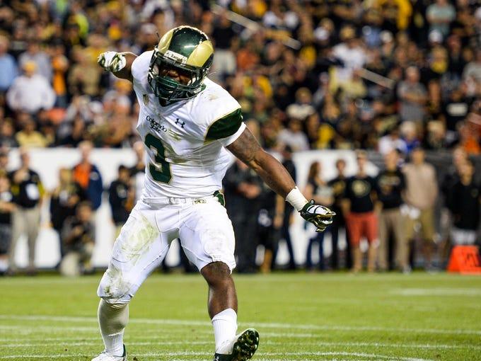 CSU's Treyous Jarrells celebrates after scoring a touchdown