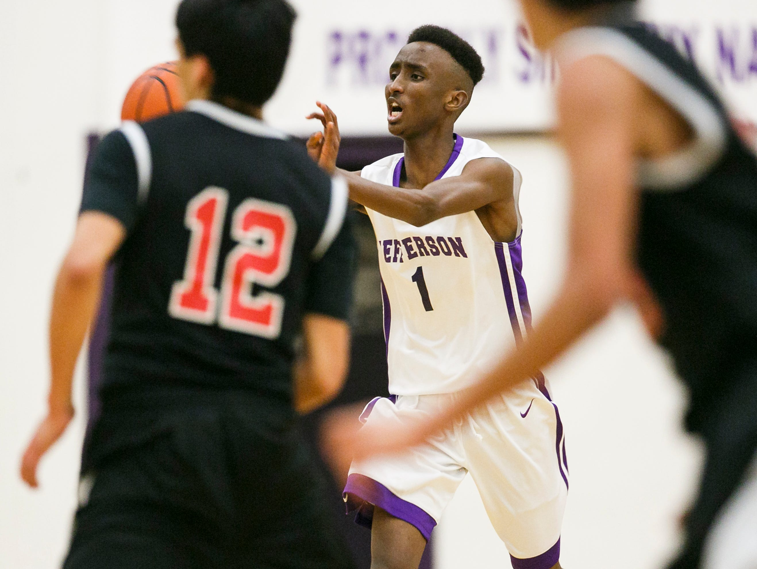 Jefferson's Abdi Ibrahim looks for an open teammate in a game against Chemawa on Thursday, Feb. 2, 2017, at Jefferson High School. Chemawa won the game 58-52, moving to 2-7 in the PacWest and 3-12 overall while Jefferson fell to 5-5 in the PacWest and 7-12 overall.
