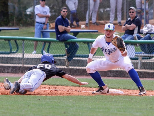UWF  first baseman Justin Ambrosino helped propel the Argos to a win Sunday against Alabama-Huntsville and salvage a game in their GSC series at Jim Spooner Field Saturday afternoon.
