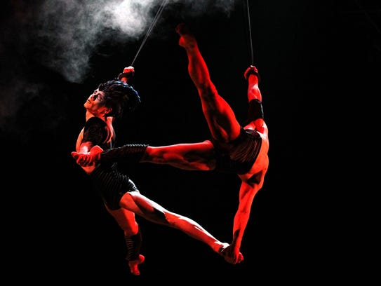 Acrobats of Cirque du Soleil perform during a rehearsal