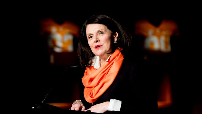 University of Tennessee Chancellor Beverly Davenport speaks during the introduction ceremony of Jeremy Pruitt as Tennessee's next head football coach at the Neyland Stadium Peyton Manning Locker Room in Knoxville, Tenn. on Thursday, December 7, 2017.