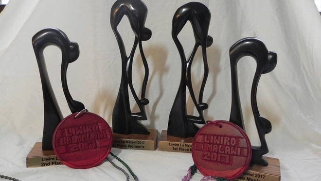 Trophies and medals for Saturday's 5K were made by artists in Malawi.