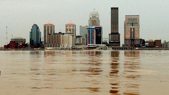 The Ohio River begins to crest Wednesday, March 5, 1997 near downtown Louisville.