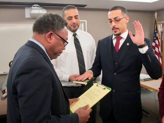 Linden Board of Education member Ahmed Shehata is sworn in to office Monday.