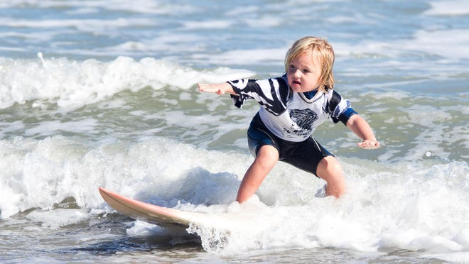 Kaylin Compayre, 4, was part of the School of Surf Mini-Grom team.