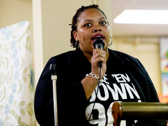 #TakeEmDown901 activist Tami Sawyer speaks at a meeting of the Tennessee Historical Commission in October. The commission refused to allow Memphis to remove its Confederate statues from public parks, but two months later the statues were taken down.