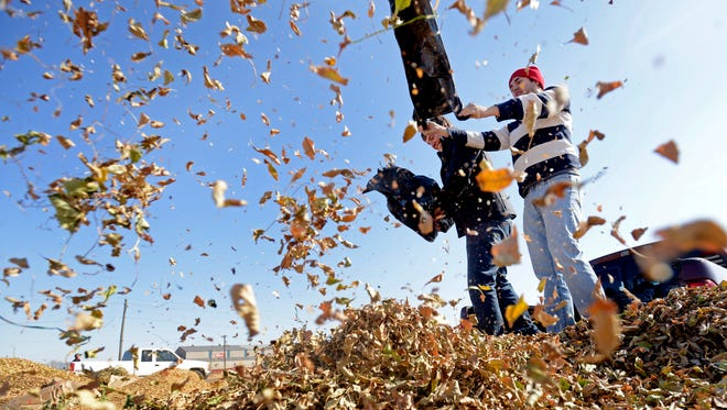 Sioux Falls residents dump bags of leaves at the leaf drop off area off of North Lyon Boulevard in 2012. The fairgrounds allow the city to use the land in exchange for maintenance work on the property.