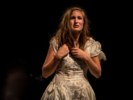 "Ali Basham plays Ophelia in the Appleton North High School production of ""Hamlet."""