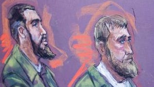 Eljvir Duka and Shain Duka, formerly of Cherry Hill, are depicted at their 2008 trial in Camden.