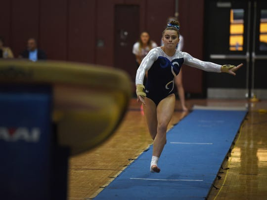 Shannon Furletti of Holy Angels prepares to vault during the 2016 NJGL A Division meet  at Ridgewood High School.