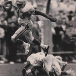 FSU's Sammie Smith goes in the air during a second half gain at Clemson. FSU's Sammie Smith goes in the air during the Seminoles' win at Clemson in 1988. Democrat files FSU's Sammie Smith goes in the air during a second half gain at Clemson.