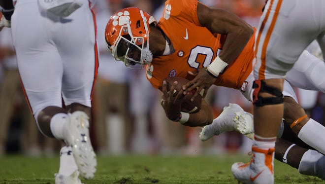 Clemson quarterback Kelly Bryant (2) dives forward during the NCAA football game between Auburn and Clemson on Saturday, Sept. 9, 2017, in Clemson N.C.