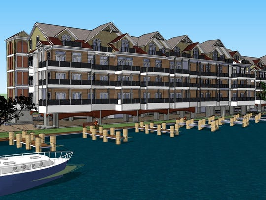 A rendering of the Residences at River Place, apartment buildings to be built on the Nanticoke River in part with state incentive grant funds.