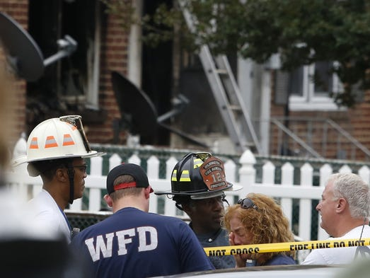 Wilmington Fire Department representatives gather on