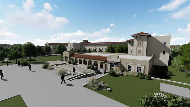 New Mexico State University's proposed new residence hall's south wing, classrooms and arcade are shown in this architectural rendering. The groundbreaking ceremony for the building is set for Friday, April 27, 2018.