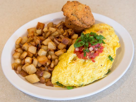 The Wild Western omelet with an everything muffin and