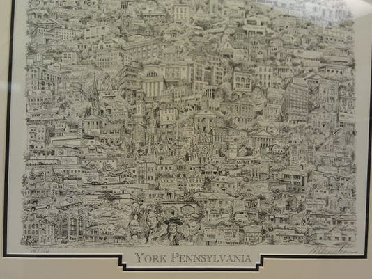 This framed print at the Art and Framing Warehouse in York is available there (unframed) for $15. At City hall, they're charging $25. Why? Good question.
