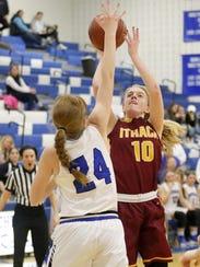 Graceann Gorsky of Ithaca puts up a shot as Jillian