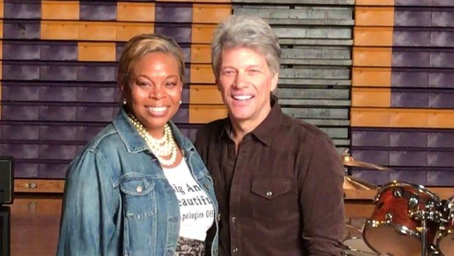 Camden Mayor Dana Redd with Jon Bon Jovi at Camden High School on Friday, Oct. 21.