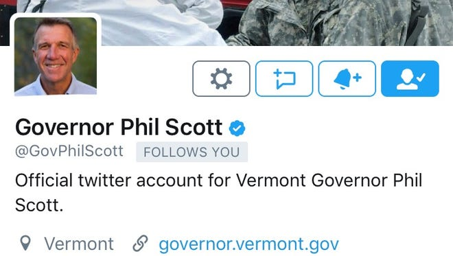 The blue check mark next to Gov. Phil Scott's name on his Twitter profile signifies he's been verified by the social media network. Scott's profile was verified this week, leaving only three governors with unverified profiles.
